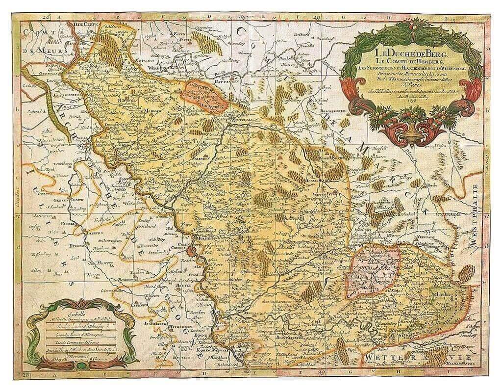 Karte des Herzogtums Berg